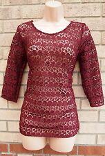 G21 bordado floral de crochet Borgoña Sin Espalda Túnica Top Blusa Cami 8 10 S