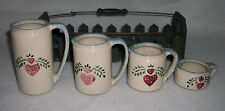 Rustic Country Hearts Set of 4 Ceramic Measuring Cups w/ Picket Fence Wood Frame