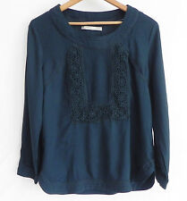 Sfera Joven S.A. Top Tunic 3/4 Sleeve SizeS Viscose Lace Trim  Green