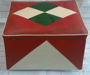 Vintage Retro leather footstool pouffee sewing box - red white & green 60's 70's