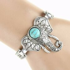 Thboxs Tibet Silver Turquoise Open Ended Bangle Cuff Carved Elephant Bracelet