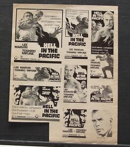 THE HELL WITH HEROES and HELL IN THE PACIFIC two original ad sheets (1960's)