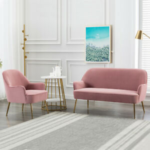 1 2 Seater Sofa Armchair Accent Chair Loveseat Couch Pink Velvet Gold Metal Legs