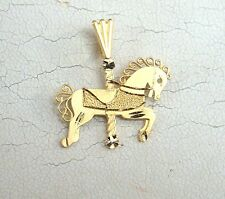 New Solid 14K Yellow Gold Carusel/Merry-Go-Round Horse Charm Pendant