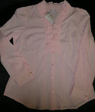 BNWT ~ LADIES SIZE16 TARGET CITY DRESSING RUFFLE FRONT SHIRT PALE PINK ~ NEW