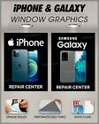 iPhone Galaxy cell phone repair sign poster perforated window decal sticker