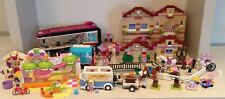 Large Lego Friends bundle Pop Star Bus Juice Bar Riding Camp Horse Trailer etc