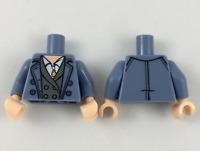LEGO Minifigure Torso Top Trenchcoat Blue White Shirt necklace Bluish Gray HP