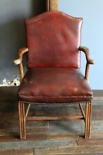 Vtg Bankers Chair Lawyer Desk Office Chair Oxblood Leather with nailhead trim