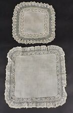 MID 19TH C HAND MADE LACE EDGED HANDKERCHIEF LOT OF TWO
