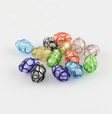 100 Pcs Oval Handmade Lampwork Beads Jewelry Making Mixed Color 16x11mm Hole 2mm