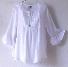 NEW~White Crochet Lace Peasant Blouse Ruffle Sleeve Shirt Boho Top~12/14/L/Large