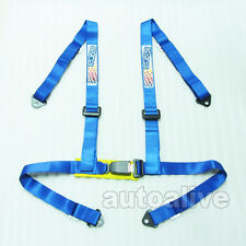 4 Point 1.85 inch Width H Style Racing Seat Belt Blue Safety Harness Universal