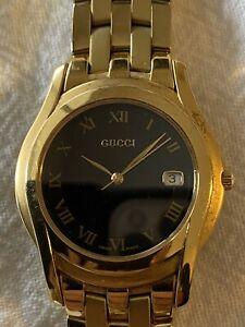 Gucci Watch 5400m Gold Tone Band Black Dial Face Unisex Quartz