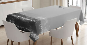 Gray Tablecloth Flying Birds on Wavy Sea Rectangular Table Cover 60 X 84 Inches