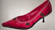 LK BENNETT - Crimson Red EMBROIDERED Kitten Heels - SIZE EU 40.5 - UK 7.5