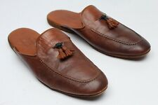 Farfalla x Neiman Marcus Mens Luxury Leather Slippers 45 Brown House Shoes