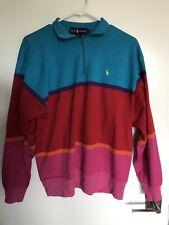 Vintage POLO RALPH LAUREN 90s Quarter Zip ColorBlock Sweater Shirt Hong Kong