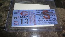 USED TICKET STUB MAY 13, 1977 CINCINNATI REDS VS. SAN FRANCISCO GIANTS