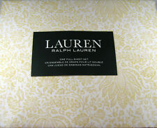 Ralph Lauren 4 Pc Full Floral Print  Sheet Set  100% Cotton Yellow and White