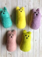 Needle Felt Wool Felted Sculpted Easter Bunny Peeps Crafts Garland One