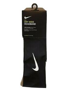 New Nike Dry Wide Headband DRI-FIT Technology Sweat Wicking Black White NWT OSFM