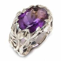 Amethyst Natural Gemstone Handmade 925 Sterling Silver Ring Size 7 R-80