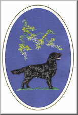 Flatcoated Retriever Birthday Card or Notecard Embroidered by Dogmania