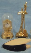 Dolls House Miniature 1/12th Scale Dome Clock, Bellows and Companion Set