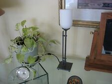 Table mantle or dresser top torchiere lamp 17' gray finish glass globe uplight