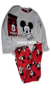 Disney Kids Fleece Pyjama Set Mickey Mouse Printed PJ&Socks Novelty Gift Box NEW