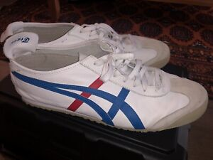 ASICS ONITSUKA TIGER Mexico 66, Size 13, White with Red & Blue