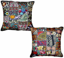 2pc Black Decorative Vintage Throw Pillow Hand Embroidered Accent Pillow Cushion