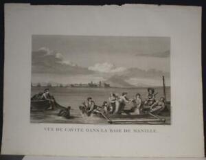 MANILA CAVITE PHILIPPINES 1797 LA PÉROUSE UNUSUAL ANTIQUE COPPER ENGRAVED VIEW