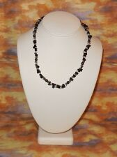 "Hematite Clear Quartz Blackstone Necklace New Crystal Healing Jewelry 17"" - 18"""
