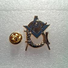 Large Masonic Antique Style Master Mason Lapel Pin BRITE Golden Finish