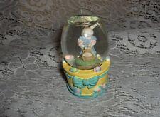 Vntg Mercuries Mini Art Glass Snow Globe Easter Rabbit Baby Bunny Paperweight