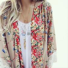 Women Summer Floral Loose Shawl Kimono Cardigan Boho Chiffon Tops Jacket Blouse