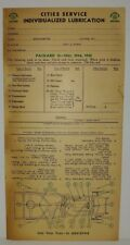 "1933 1934 1935 PACKARD (12 CYL.)  ""CITIES SERVICE""  LUBRICATION RECORD"