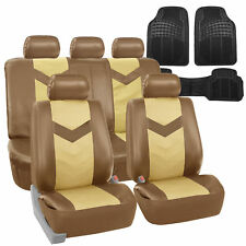 Faux Leather Car Seat Covers for Auto Beige W/ Heavy Duty Floor Mats