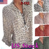 Fashion Womens V Neck Leopard Print Tops Blouse Casual Long Sleeve Shirts Tee US