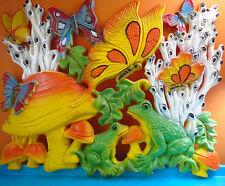 VTG 1960s MOD Retro Groovy Homco Psychedelic Mushroom Butterfly Plastic Wall Art