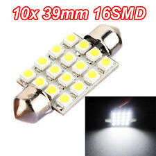 10X 38mm 39mm C5W 16SMD White LED Car Interior Dome Festoon Light Lamp Bulb
