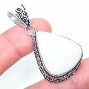 "White Scolecite Gemstone Handmade Ethnic Silver Jewelry Pendant 1.8"" PLG1698"