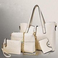 4pcs Women Leather Handbag Shoulder Bags Lady Tote Purse Messenger Satchel Set