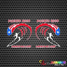 2x PARAISO DEL SURF PUERTO RICO RICAN FLAG VINYL CAR STICKERS DECALS
