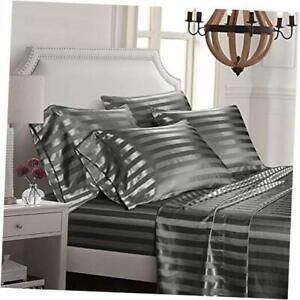 6 Piece Satin Italian Style Bed Sheet Set Deep Pocket Stripes 1800 Luxury Rich