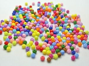 1000 Mixed Bubblegum Color Acrylic Round Beads 4mm Smooth Ball Beads Spcer