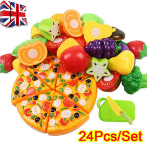 24Pcs Fruit Vegetable Food Cutting Set Kids Role Play Pretend Chef Kitchen Toy