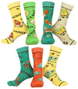 Nickelodeon Spongebob Squarepants Men's 7 Pack Casual Crew Socks